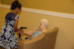 Daelyn introduces herself to residents at Clayton Oaks