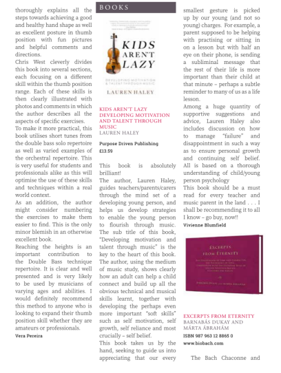European String Teachers Association (ESTA) Review of Kids Aren't Lazy in Arco Magazine (2018)