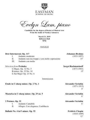 Evelyn Lam DMA Program March 2019