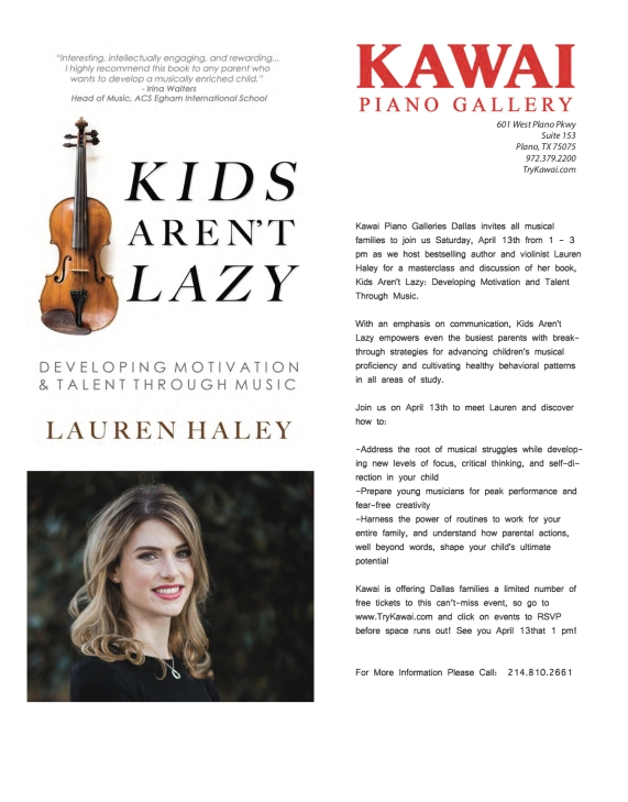 Kawai Piano Gallery Dallas -- Kids Aren't Lazy Book Signing, Discussion, and Masterclass